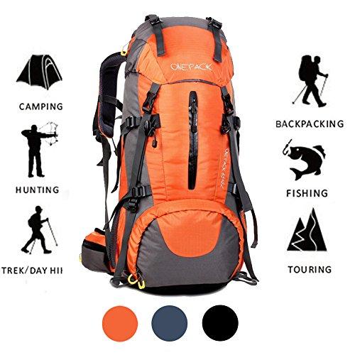 Rucksack 70L Reise Rucksack Wandern Camping Pack Bergsteigen Klettern Wasserdichte Outdoor Sport mit Regenschutz Orange