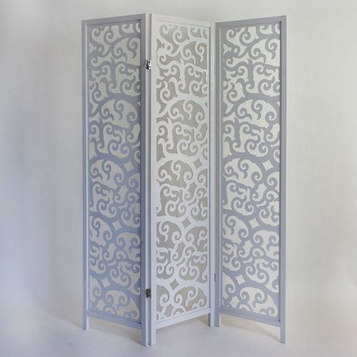 PEGANE Biombo de Madera Color Blanco de 3 Paneles