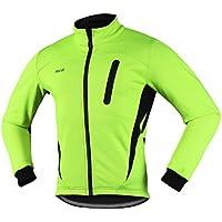 Arsuxeo 16H Hombres Invierno Térmico Vellón Ciclismo Chaqueta MTB Bicicleta Abrigo Cycling Thermal Fleece Jacket (CN:XL / US: L, Verde)