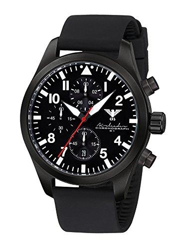 Airleader Black Steel Chronograph KHS.AIRBSC.SB Edelstahl IP-beschichtet schwarz, Silikonband schwarz, KHS Tactical Watch, Einsatzuhr, Fliegeruhr