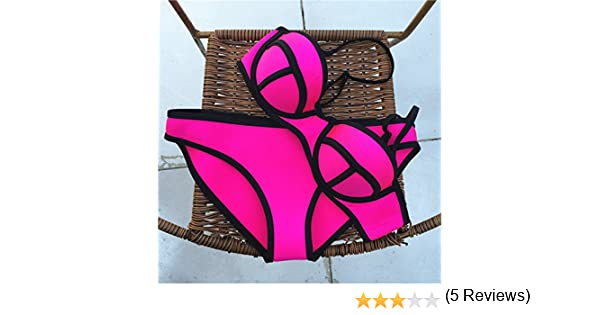 EFE Maillot de Bain Femme 2 Pièces Hyper Suit Tondeuse Bra + Bikini Set Push  up Fluo Sport Plage Volley-ball Style (S(Poitrine 66-80cm Taille 68-84cm) 9b55c4c8793