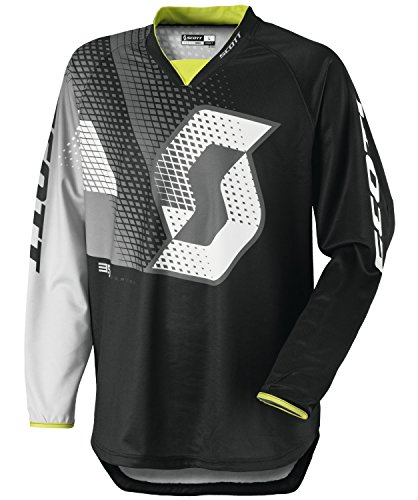 Scott 350 Dirt Kids Kinder MX Motocross Jersey / DH Fahrrad Trikot schwarz/weiß