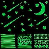 Leuchtsterne Leuchtpunkte mit Mond Glow in The Dark Sterne Sticker Fluoreszierend Leuchtende Leuchtstoff Leucht-Aufkleber-Sticker Kinder-Baby-Schlaf-Wohn-Zimmer Sternenhimmel Zimmerdecke Wandsticker