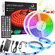 LED strip light kit, YOMYM Waterproof 5050 RGB 300led Strips Lighting Flexible color change with 40 infrared r