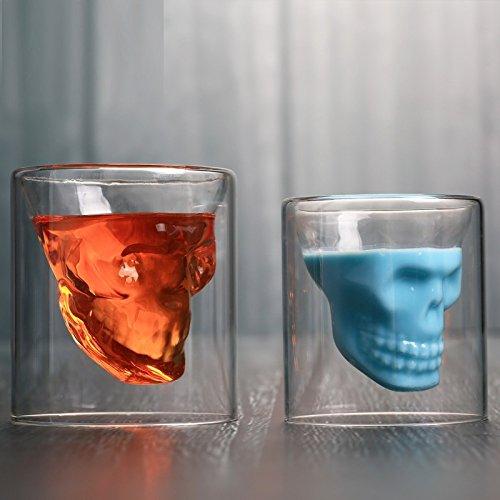 Weiwei boccale di birra teschio di cristallo bicchiere da vino in vetro bicchiere da acqua in vetro trasparente doppio creativo,75ml,taglia unica wei