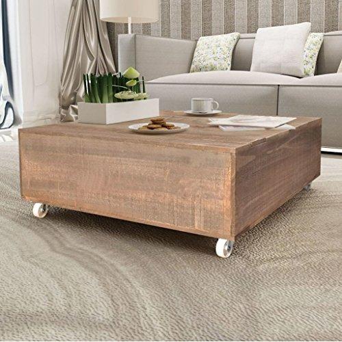 Couchtisch braun massiv Holz (Glas-wohnzimmer-akzent-tabelle)
