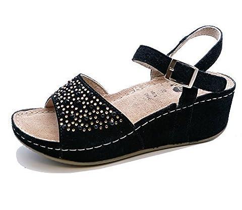Ladies Black Leather Wedge Platform Summer Sandals Peep-Toe Shoes Pumps Sizes 2-7
