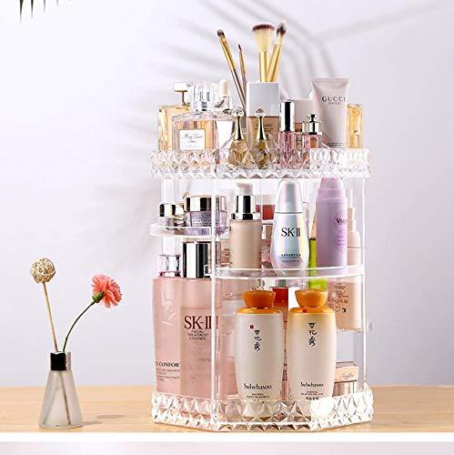 WESEASON 360 degré de Maquillage Rotation Organisateur de Diamants décoration Make up Stockage parfums cosmétiques présentoir Stand à la Chambre Salle de Bains et Salon Crystal Clear