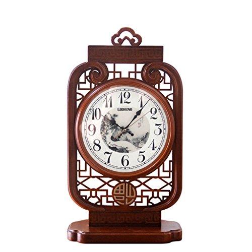 LINA Nouveau Bois Grand Style Chinois Horloge Décorative Style Chinois Salon Chambre Horloge de Table Néo-Classique Et Élégant Rétro Horloge Ornements