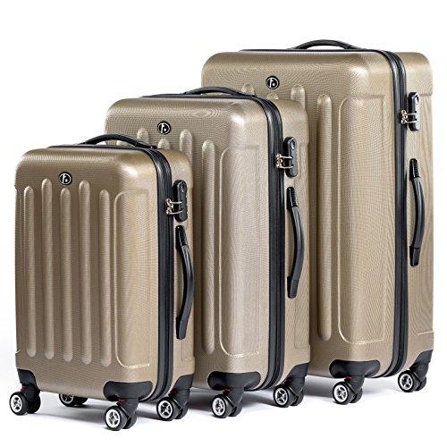 FERGÉ Kofferset Hartschale 3-teilig Lyon Trolley-Set - Handgepäck 55 cm L XL - 3er Hartschalenkoffer Roll-Koffer 4 Rollen Champagner
