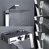Homelody Trennbar Duschsystem mit Messing Duschpaneel Duscharmatur Regendusche mit Armatur Wasserhahn 3 Funktion Wasserablauf Duschset Rainshower Dusche für Bad/Badewanne Vergleich
