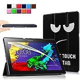 Infiland Lenovo Tab 2 A10-70 / Tab 2 A10-70L / Tab 2 A10-70F / Tab 2 A10-30F / Tab 2 A10-30L / Tab 3 10 Business/ Tab3 10 Plus Hülle Case, Ultra Dünn Tri-Fold Smart-Muschel PU Leder Schutzhülle für Lenovo Tab 2 A10-70 / Tab 2 A10-30 / Tab 3 10 Business/ Tab3 10 Plus 10,1 Zoll Tablet (mit Auto Schlaf / Wach Funktion)(Große Augen)