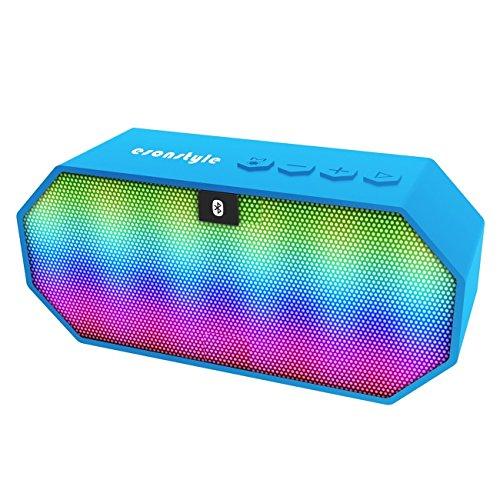 Altavoces Bluetooth, Esonstyle Altavoz Estéreo Inalámbrico Portátil con luces LED, disco TF Card / U disco / radio FM y manos libres para Smartphone, Tablet PC, Ordenador y más (Azul)