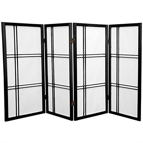 91,4cm Shoji Screen Raumteiler Doppeltes Kreuz, holz, schwarz (Shoji Raumteiler Screen)