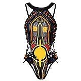 zooarts® 2017negro Sexy mujeres cuello alto estampado africano de baño–Cadena una pieza traje de baño, negro, Medium