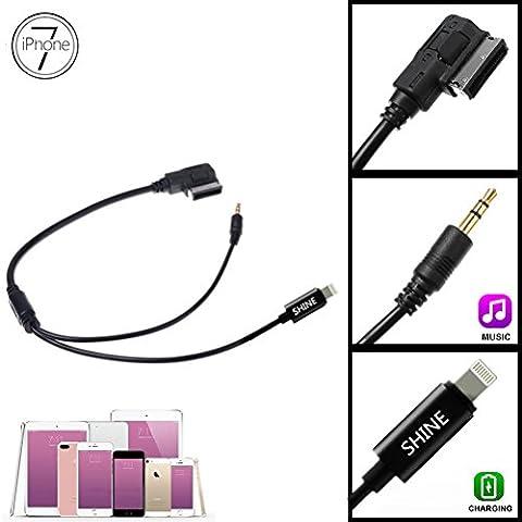 Shine @ ami MMI Interface musique Lightning de charge adaptateur pour iPhone 6 7 Plus iPod iPad (tous les iOS System) et jack 3,5 mm vers Android Samsung Galaxy pour fournir Mercedes Benz Comand APS NTG 2,5 3 4.5