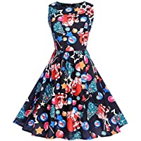 Geili Damen Weihnachten Kleider Frauen Vintage 1950er Ärmellos A-Line Swing Kleid Weihnachtsmann Drucken Rockabilly... preisvergleich bei billige-tabletten.eu