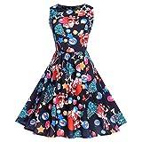 KPILP Frauen Elegant 2018 Weihnachtsdruck Abendkleider Sleeveless Vintage Cocktailkleider Abendkleid Kleid(Mehrfarbig,EU-48/CN-2XL