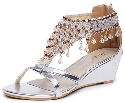Odema Femmes Briller Rhinestone Perle Gladiateur Chaussures Talon haut cale Des sandales Argent