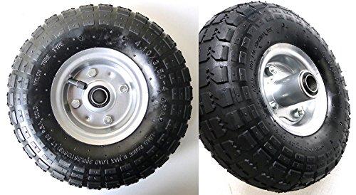 2 ruedas de aire, Llanta de acero 4,10/3,50 – 4, diámetro de 260 mm para carretillas de mano, carretillas, carros
