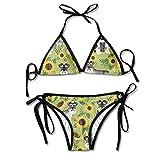 Zcfhike Women's Bikini Set Swimming Costumes for Schnauzer Dog and Sunflower Summer Flower Print