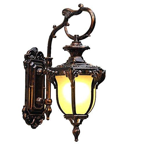 Wandleuchte im Europäischen Stil Retro einfach Außen-Wandleuchte, Innenhof Balkon Wohnzimmer Gang Villa Lampen, Wasser- und Staubdicht, Aluminium Kunst Glas Lampen praktische und langlebige Lampen (Farbe: Amber-M) -