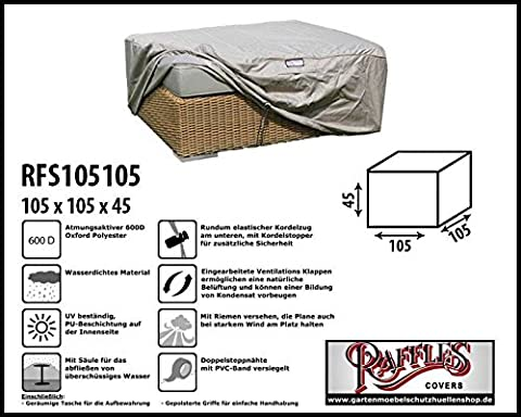 RFS105105Protective Cover for Wicker Lounge Rattan Tea Table, Coffee Table, Foot Stool or Foot Rest for best at the Table of Max. 100x 100cm