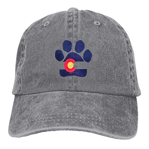Hoswee Unisex Kappe/Baseballkappe, Paw Pattern Colorado Flag Cowboy Caps Adjustable Dad Baseball Hats Gray