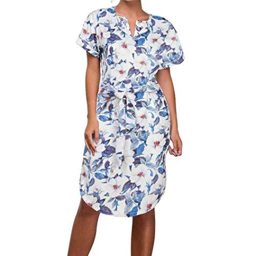 Cinnamou Femmes Trois Quarts Manches Robe Géométrique Bouton Avant avec Cordon de Serrage à La Taille Bleu