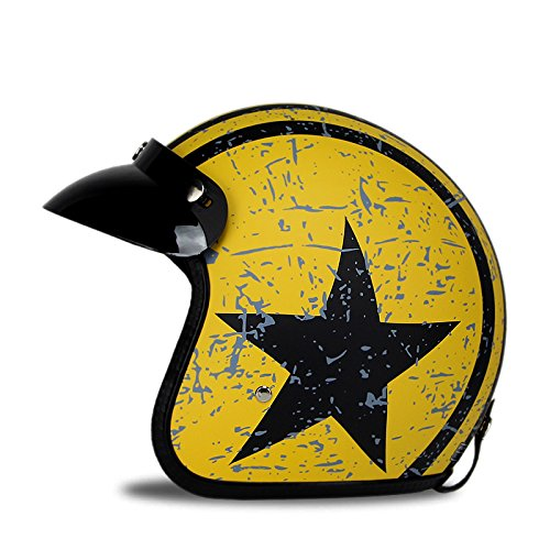 Woljay 3/4 Offener Sturzhelm, Helmet Motorrad-Helm Jet-Helm Scooter-Helm Vespa-Helm Halbhelme Motorrad Helm Flat mit Rebellen Star Graphic Schwarz Gelb (XL)