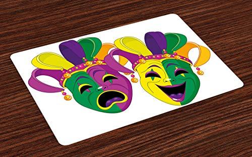 ABAKUHAUS Mardi Gras Platzmatten, Traditionelle Masken der Tragödie und Comedy Festival Celebration Masquerade Theme, Tiscjdeco aus Farbfesten Stoff für das Esszimmer und Küch, Mehrfarbig (Den Mardi-gras-masken Traditionellen)