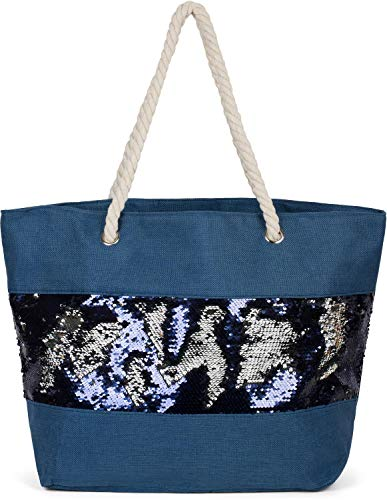 styleBREAKER Damen XXL Strandtasche mit Wende Pailletten und Reißverschluss, Schultertasche, Shopper 02012280, Farbe:Dunkelblau/Dunkelblau-Silber