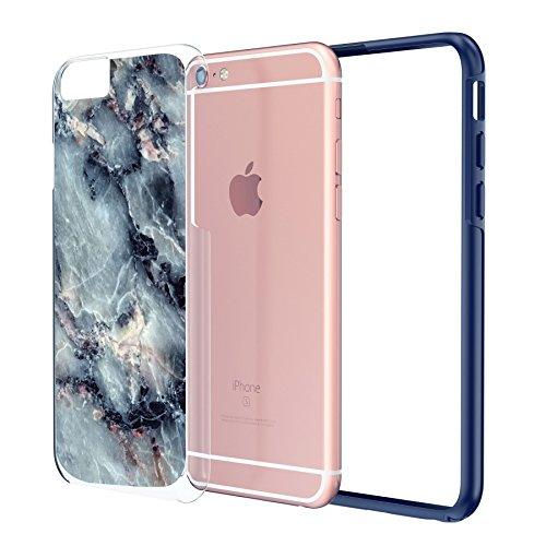 "iPhone 6 6s langlebige Schutzhülle Cover / Case / Hülle / Fall, True Color® Weißer Marmor [Kollektion Stein-Textur] Slim Hybrid Hartschale + Soft-TPU-Bumper 6 / 6s 4.7"" [True Protect Serie] Blaugrauer Marmor"