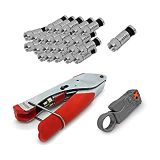 Kompressionszange HD Sat Kabel Zange Kabelmesser 100 x F Kompressionsstecker 7 - 7,5 mm Stecker F-Kompressionsstecker Koaxialkabel TV Antennenkabel 4K Pressstecker ARLI
