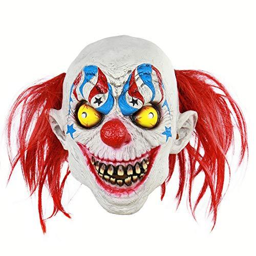 wnddm Scary Demon Clown Maske mit roten Haaren The Evil Circus Killer Clown Latex Erwachsenen Halloween Kostüm Masken Horror Joker Maske (Demon Killer Kostüm)