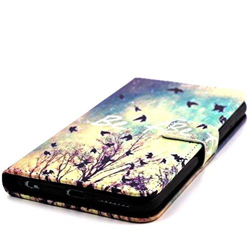 [A4E] Handyhülle passend für Apple iPhone 6 Plus (6 Plus;6S Plus) Kunstleder Tasche, seitlicher Magnetverschluss mit Comic / Cartoon / Graffiti Design (weiß, schwarz, blau, rosa) YOLO - be free
