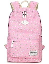 HAPPYTIMEBELT Double Zipper Flower Pattern Printing School Backpack Student Book Bag(Pink)