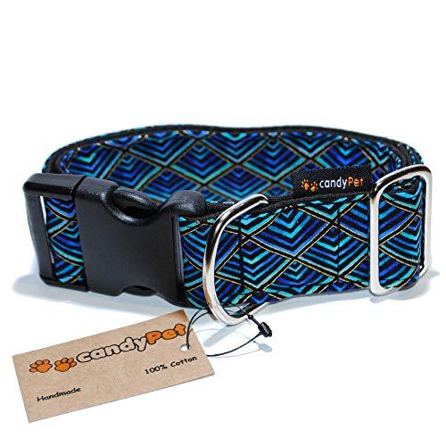 candyPet Halsband für Hunde aus Baumwolle - Hundehalsband - Handarbeit - extra breit - in 4 Größen - mit oder ohne Clickverschluss - leicht verstellbar -Triangle Click 4cm (30-55cm)