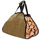 HOMMINI Cestino in Feltro, Cestino di legna da ardere, borsa in legno durevole 135 * 43 * 1 cm, lino marrone, capacità di 16 galloni per camino, spiaggia e campo