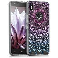 kwmobile Funda para bq Aquaris X5 Plus - Case para móvil en TPU silicona - Cover trasero Diseño Sol hindú en azul rosa fucsia transparente