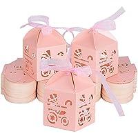 100piezas(4.9*4.9*5cm) Cajas Bautizo Caramelos Bombones Chuches Peladillas Regalo Recuerdo Boda Fiesta Cumpleaños con Cinta Organza (Color rosa)