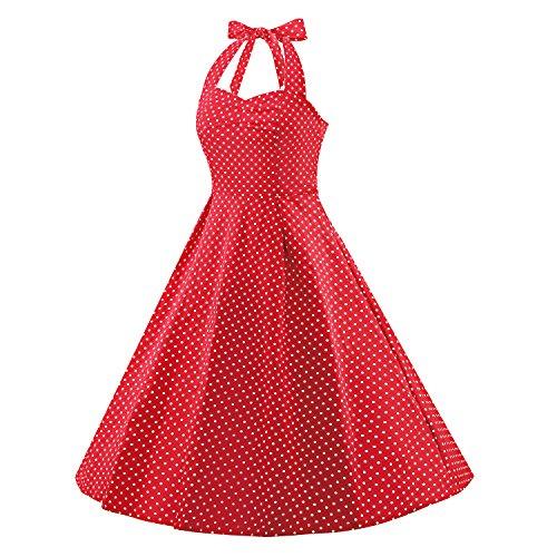 LUOUSE Robe de Bal/Soirée Licou Vintage année 40 50 60 avec des Points Polka V303-Red
