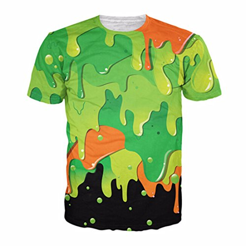 Men's 3D Green Tupac Printed Punk Rock Short Sleeve Tee Shirt top 17