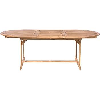 Gartentisch Holz Hellbraun 160 220 X 100 Cm Ausziehbar Maui Beliani
