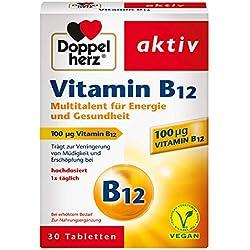 Doppelherz Vitamin B12 Tabletten – Nahrungsergänzungsmittel bei erhöhtem Bedarf – Vitamin B12 als Beitrag für den normalen Energiestoffwechsel – 1 x 30 Tabletten