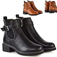 Womens Studded Goth Zip Ankle Boots Ladies Gusset Chelsea Chunky Punk Shoes Size