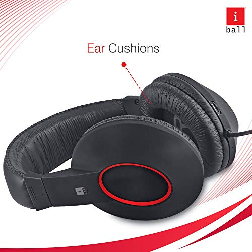 iBall EarWear Rock, Pitch Perfect Sound, Over-Ear Wired Headphones with Mic, Black & Red Image 2
