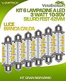 Kit 6x LED 3W 10–15V 3000K Warm Soffitte 42mm Fest 42mm 12SMD 5050144LM 12LED