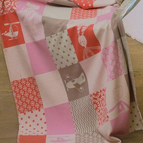 Preisvergleich Produktbild David Fussenegger Kinderdecke Lena Patch rosa/beige 100 x 150 cm Flanell 100% Baumwolle 6590/11