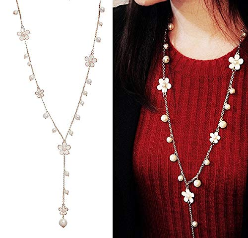 Shining Diva Fashion Jewellery Pearls n Florals Pendent Long Chain Pendant Necklace for Women and Girls
